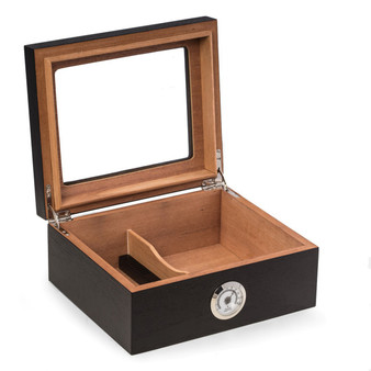 """Espresso"" Wood Cigar Humidor with Spanish Cedar Lining and Glass Lid"