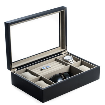 Matte Black Wood Watch Box and Slots for Rings and Cufflinks