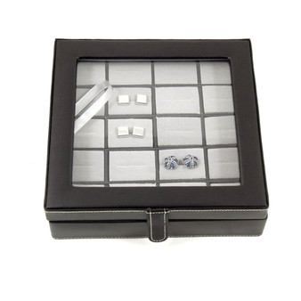 Personalized Black Leather 20 Cufflink Box with Glass Top