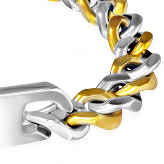 12mm Stainless Steel Curb Cuban Links 2-tone ID Bracelet