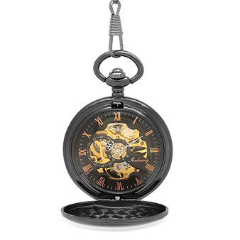 Quality Ice Black Mechanical Pocket Watch - Free Engraving
