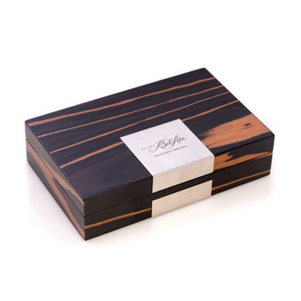 Personalized Ebony Burl Wood Valet Box with Stainless Steel Accents