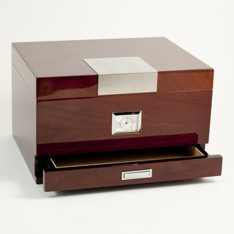 Personalized Walnut Humidor with Accessories Drawer