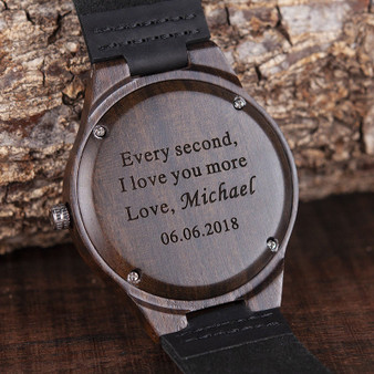 Personalized Black Bamboo Wood Watch with Genuine Black Leather