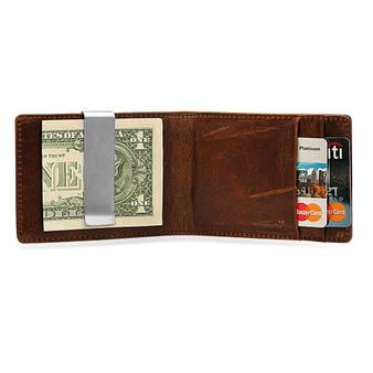 Quality Genuine Leather Men's Slim Wallet Money Clip