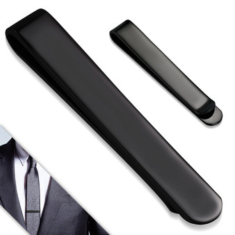 Quality Black Stainless Steel Men's Tie Clip