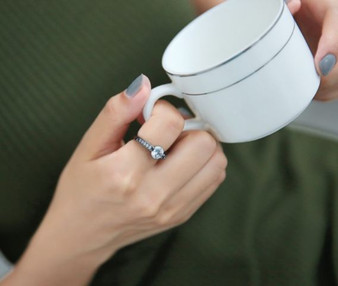 Personalized Quality Black IP Fashion Ring with CZ