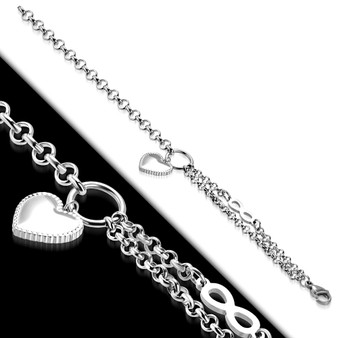 Personalized Stainless Steel Love Heart Charm Infinity Link Chain Bracelet