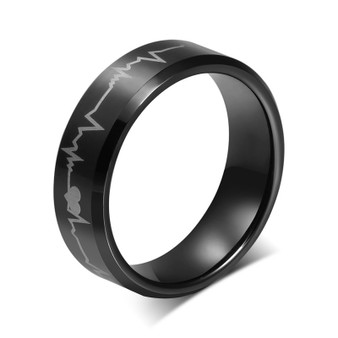 """Personalized Stainless Steel Black HeartBeat of Love"""" Ring"""