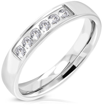 4mm Personalized Stainless Steel Comfort Fit Half Eternity Ring