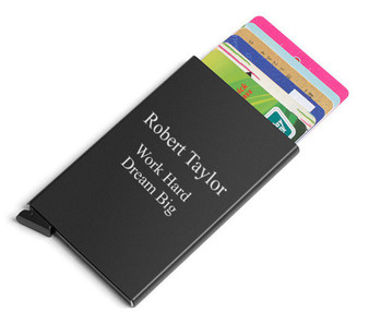 Personalized RFID Blocking Automatic Credit Card Holder