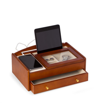 Personalized Cherry Wood Valet Box With Glass Lid