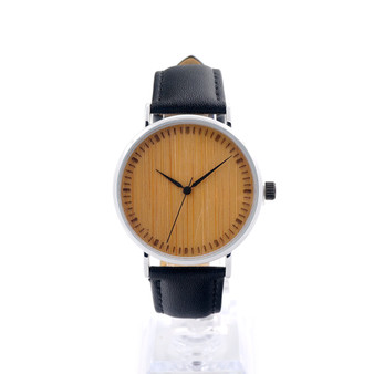 Personalized Unisex Bamboo with Stainless Steel Quartz Watch