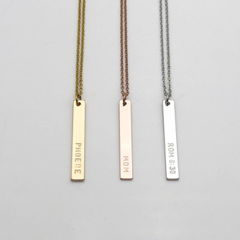 Personalized Stainless Steel Vertical Name Bar Necklace