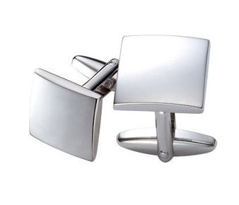 Shiny Silver Square Brass Cufflinks - Free Engraving