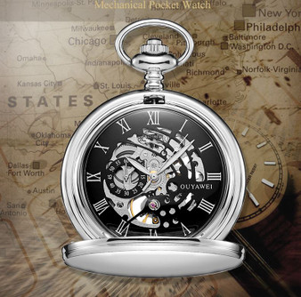 Personalized Mechanical Luxury Pocket Watch with Roman Numeral