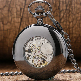 Mechanical Luxury Smooth Black Pocket Watch with Blue Number