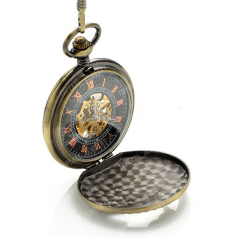 Personalized Antique Bronze Mechanical Pocket Watch
