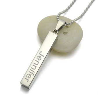 Personalized Stainless Steel Bar Charm Necklace Pendant