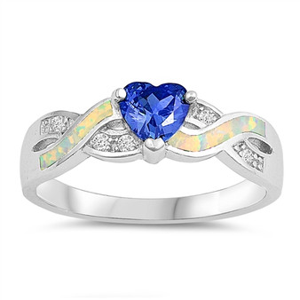Personalized Sterling Silver With White Opal and Blue Sapphire Ring