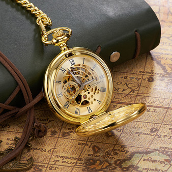 Personalized Gold Luxury Mechanical Hand Wind Pocket Watch