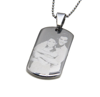 Personalized Stainless Steel Small  Photo Dog Tag Pendant