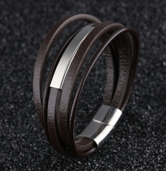 Personalized  Multilayer Men's Leather ID Bracelet