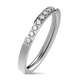 Personalized Stainless Steel Half Eternity Promise Ring