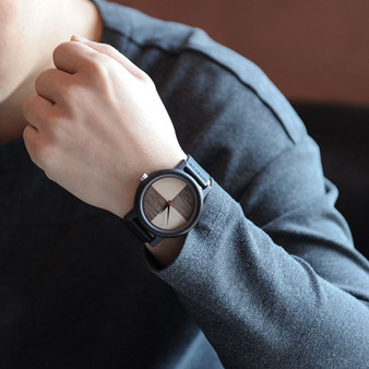 Personalized  Bamboo Wood Watch with Genuine Black Leather