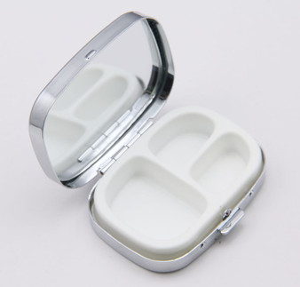 Personalized Quality  Ribbed Cover Pill Box & Mirror