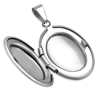 Personalized Stainless Steel Small Oval Locket Pendant With Chain