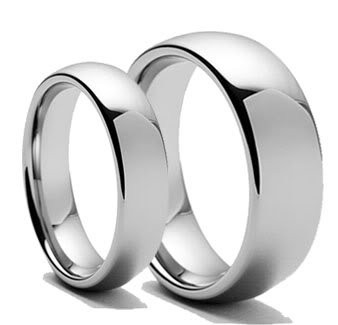 Personalized His Tungsten Carbide Polished Shiny Ring (Her Ring Only)