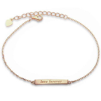 Personalized .925 Sterling Silver 'Forever Love'  Engraved Bracelet