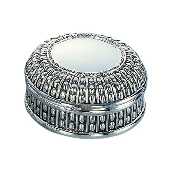 "Personalized 4.5"" Diameter Round Jewelry Box With Beaded Antique Design"