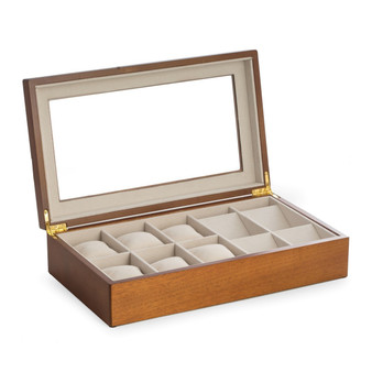 Cherry Wood Six Watch and Four Pocket Watch Storage Box with Glass Top