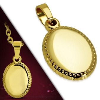 Personalized Gold Color Plated Stainless Steel Oval Charm Pendant
