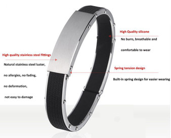 Brushed Stainless Steel With Rubber Cuff ID Bracelet