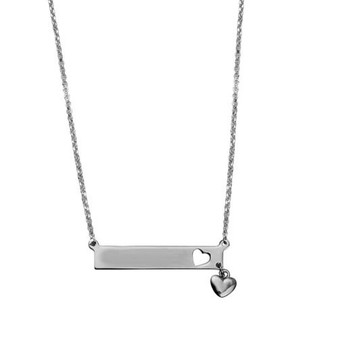 Personalized Genuine .925 Sterling Silver Name Bar Pendant with Heart Charm