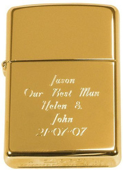 Personalized Genuine Gold Brass Metal Zippo Lighter