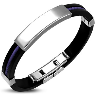 Personalized Rubber and Stainless Steel ID Bracelet