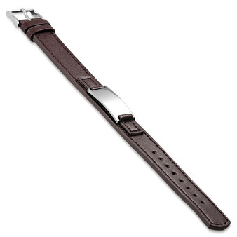 Genuine Brown Leather with Black Stainless Steel ID Bracelet