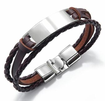 Quality Multi-Layer Men's Retro Leather ID Bracelet