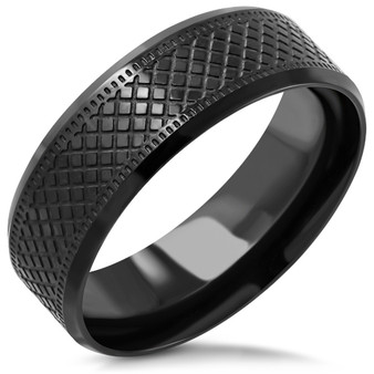 Stainless Steel Matte Finished Grid// Checker Flat Band Ring