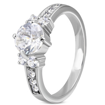 Personalized Stainless Steel Prong-Set Wedding Band Ring With Clear CZ
