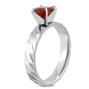 Stainless Steel Prong-Set Round Circle Solitaire Band Ring with Red CZ