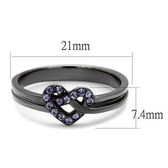 Personalized Stainless Steel Black IP Plated Heart Ring with Amethyst Crystal