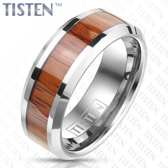 Personalized Wood Inlaid Beveled Edge Tungsten Titanium Alloy Ring