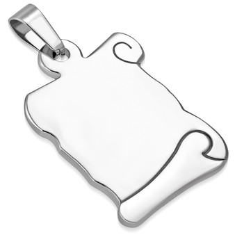 Personalized Stainless Steel Book Charm Pendant with Chain