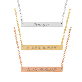 Personalized Stainless Steel Petite Name Bar Necklace
