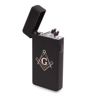 Flameless Rechargeable Dual Arc Matt Black  USB Lighter with Mason/Masonic Lodge Logo